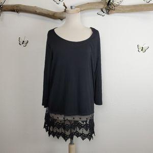 Kaktus black lace panel long sleeved tunic top